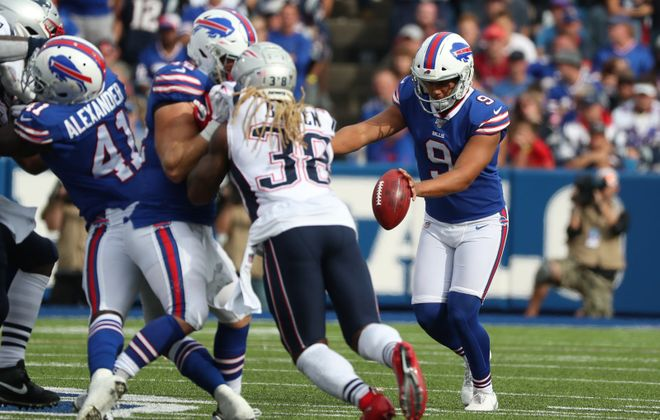 Bills punter Corey Bojorquez has the worst net punting average in the NFL through four weeks.  (James P. McCoy/News file photo)