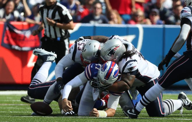 Buffalo Bills quarterback Josh Allen (17) fumbles while running in the first quarter at New Era Field in Orchard Park, NY on Sunday, Sept. 29, 2019.  James P. McCoy/Buffalo News