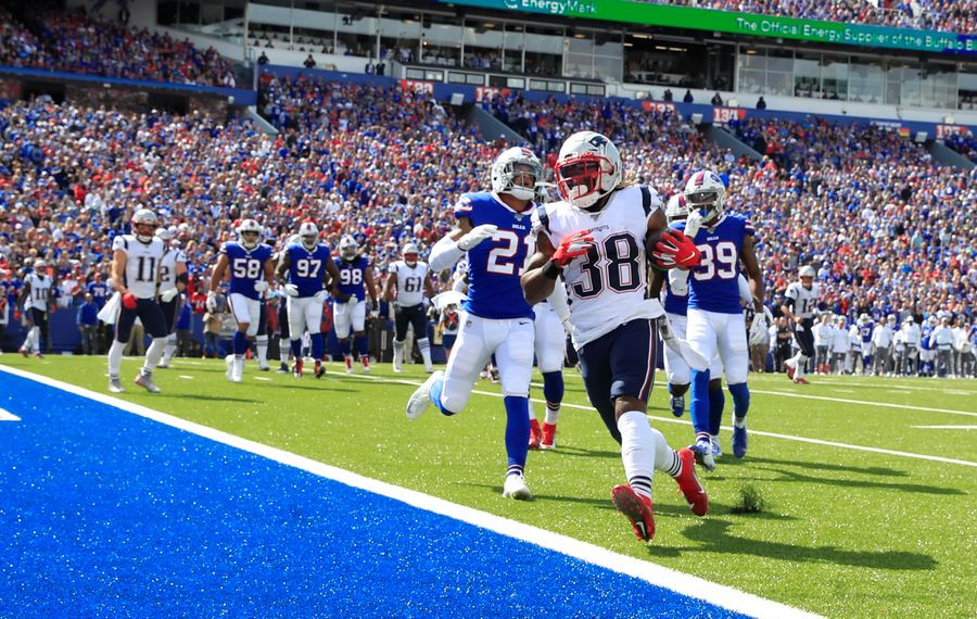 The Bills' lone touchdown allowed by the defense came on this jet sweep by the Patriots' Brandon Bolden. (Harry Scull Jr./Buffalo News)