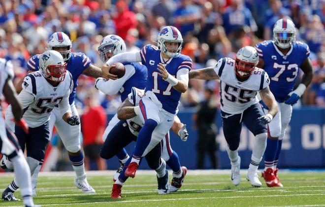 Quarterback Josh Allen and the Bills take on the Patriots on Saturday.(Derek Gee/News file photo)