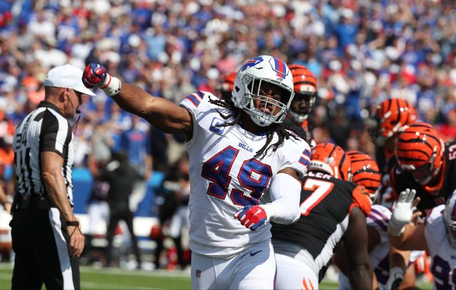 Buffalo Bills middle linebacker Tremaine Edmunds is the only player in NFL history to have two 100-tackle seasons by the age of 21. (James P. McCoy/Buffalo News)