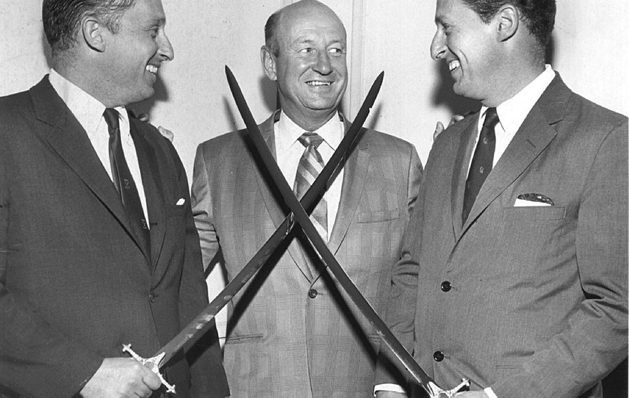 Northrup Knox, left and Seymour Knox III, right pose with Punch Imlach, the Sabres' first coach and general manager in 1970 (Buffalo News file photo).