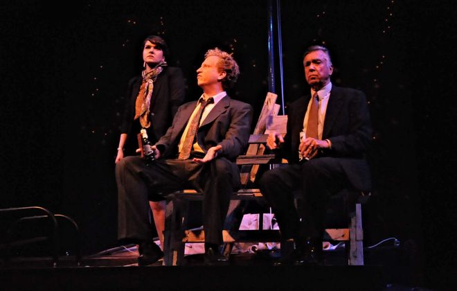 """Sandra Roberts, left, appears with Christopher J. Handley and Tom Owen in the Alleyway Theatre's production of """"Navigators."""" (Image via Alleyway Theatre)"""