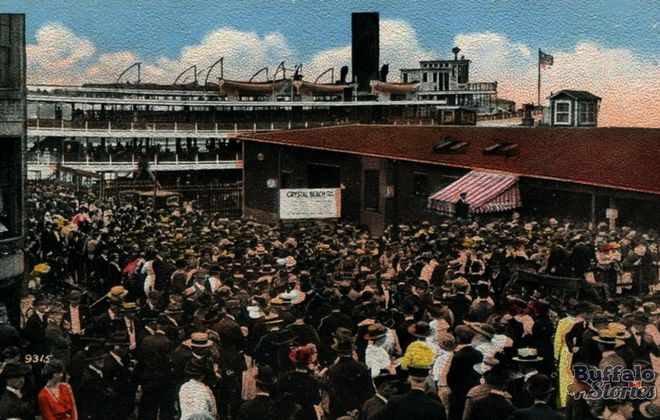 A postcard image shows a jam-packed foot of Commercial Street, with people waiting to board the Canadiana for Crystal Beach.