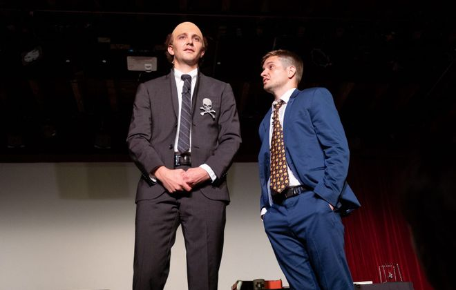 "David Rafailedes, left, and Mike Breen in their play ""Cellino v. Barnes."" (Reed Kavner/Special to The News)"