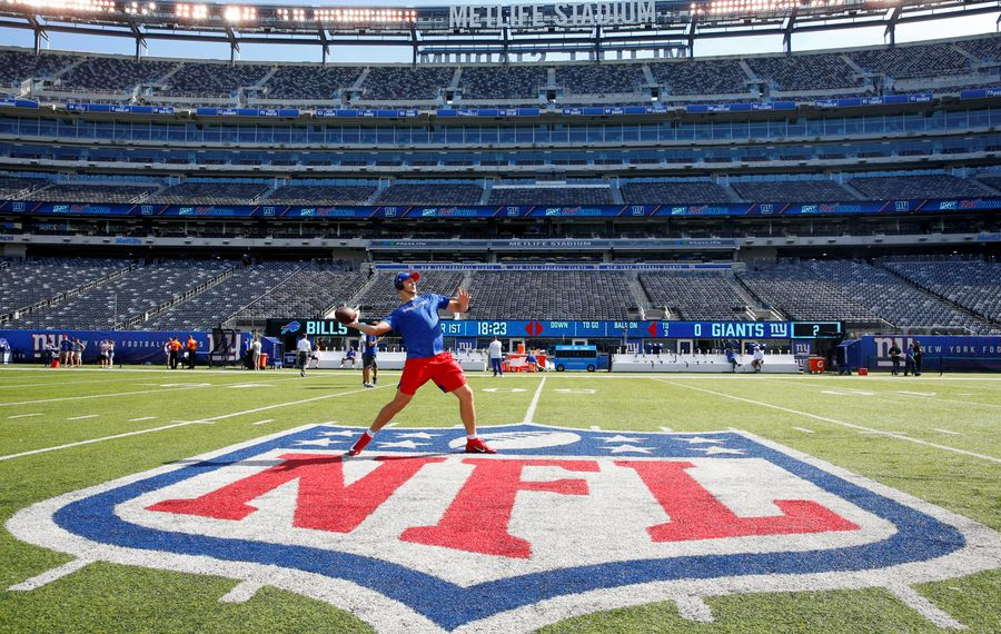 Josh ALlen throws before the New York Giants game at MetLife Stadium on Sept. 15. (Harry Scull Jr./News file photo)