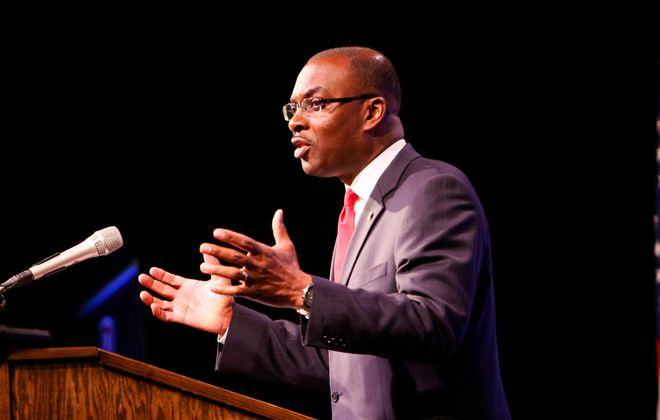 Mayor Byron W. Brown says property values are up in every neighborhood in the city, but a coalition of community groups wants to make that this doesn't cause some homeowners to get priced out of their homes. (Derek Gee/News file photo)