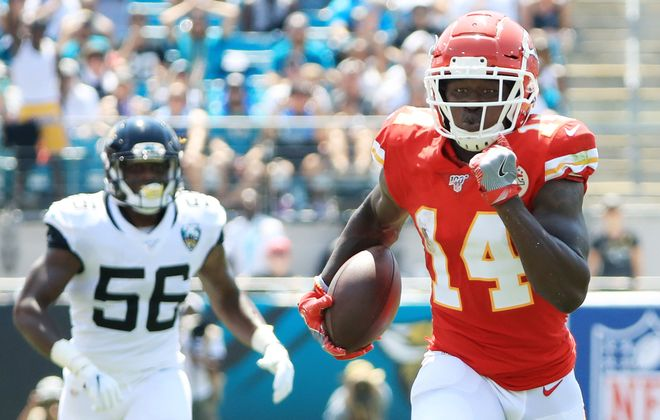 Chiefs wide receiver Sammy Watkins scores one of his three touchdowns ( Sam Greenwood/Getty Images)