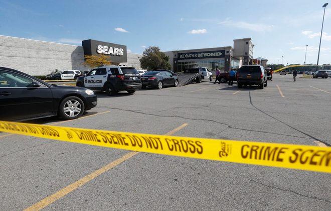 Hamburg Police investigate a crime scene Wednesday, Sept. 25, 2019, near the Sears at the McKinley Mall in Hamburg. (Mark Mulville/Buffalo News)