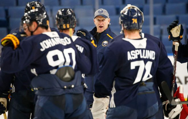 Buffalo Sabres head coach Ralph Kreuger directs his players during training camp at KeyBank Center.  (Derek Gee/News file photo)