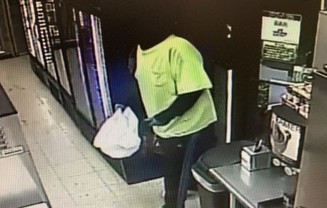 Police released this image, taken from a surveillance video, of a suspect in a Jamestown armed robbery.
