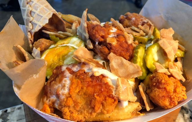 Hot Honey Chicken & Waffles represent the biggest outside-the-box addition to Delaware North's concessions at Bills home games. (Ben Tsujimoto/Buffalo News)