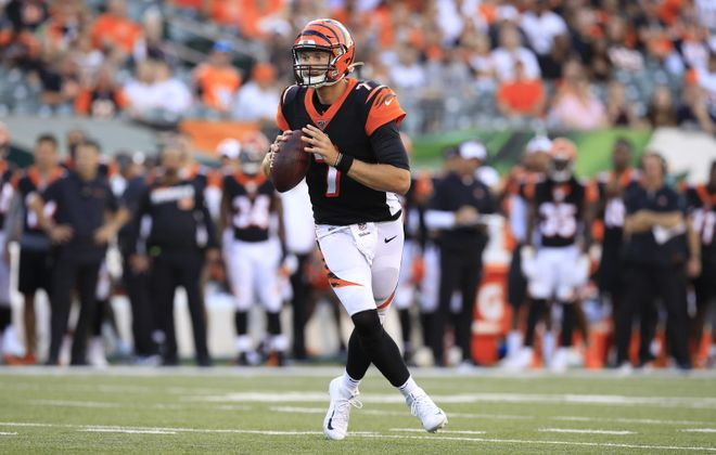 Bengals rookie quarterback Jake Dolegala was active for the first time in his NFL career Sunday, but did not play against the Jaguars. (Getty Images)