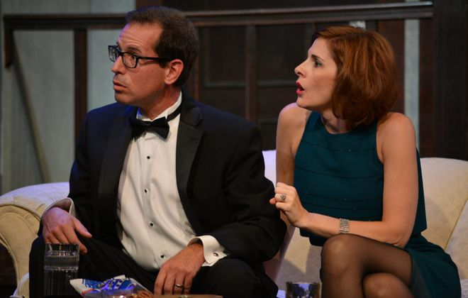 """Marc Ruffino as Lenny and Lori Panaro as Claire are are deliciously over-the-top in Neil Simon's """"Rumors"""" at the Lancaster Opera House.(Photo by Gary McBride)"""