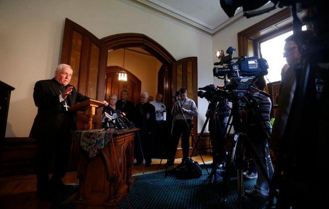 Bishop Richard J. Malone during a news conference last week. (Mark Mulville/Buffalo News)