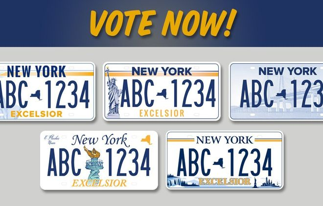 The license plate design in the top left was the winner in New York State's contest. ( New York Times)