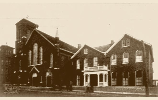 St. Brigid Church and rectory, circa 1904. (Buffalo Stories archives)