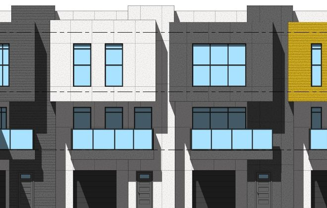 An earlier schematic of the proposed townhouses on St. Louis Place, by Legacy Development. (Image courtesy of the Buffalo Zoning Board of Appeals)