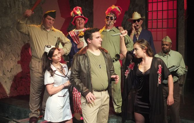 "Subversive Theatre opens its 17th season with  ""Catch-22.""  Featured on the top row from left are  Michael Mottern, Andrew Zuccari, John Kehoe, J. Tim Raymond and Leon Copeland, Jr. Bottom row, from left, are Mikyla Fisher, Connor Maxwell and Jessie Miller. (Photo by Lawrence Rowswell)"