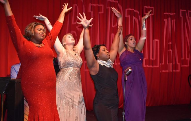 """Brittany M. Rumph, left, Kacy Lynn Carbone, Latosha Jennings and Lily Jones star in """"Ladies Swing the Blues"""" at Paul Robeson Theatre. (Photo credit: Keepsake Group)"""