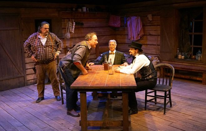 """Daniel Greer, Dave Mitchell, Peter Palmisano and Patrick Cameron do a great job in """"The Authentic Life of Billy the Kid"""" presented by Road Less Traveled Productions. (Photo by Gina Gandolfo)."""