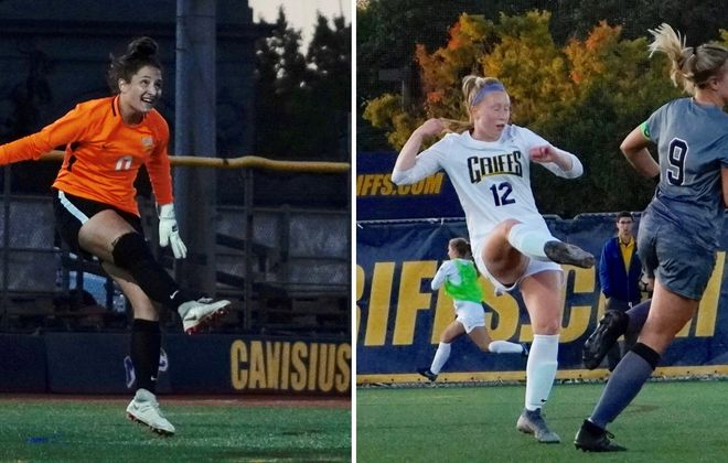 Alana Rossi, left, and Abby Molloy, in white, have helped Canisius keep four-straight clean sheets heading into conference play. (Ben Tsujimoto/Buffalo News)
