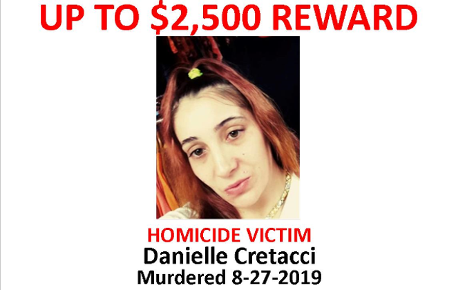 A reward is being offered for information leading to the arrest of whoever shot and killed Danielle Cretacci, 31, and wounded her two young daughters on Aug. 27, 2019. (Image provided by Crime Stoppers Buffalo)