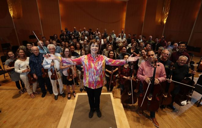 """It is truly my honor to lead this remarkable ensemble,"" JoAnn Falletta said, ""and I am thrilled to be able to do so for several more years."" (Sharon Cantillon/Buffalo News)"