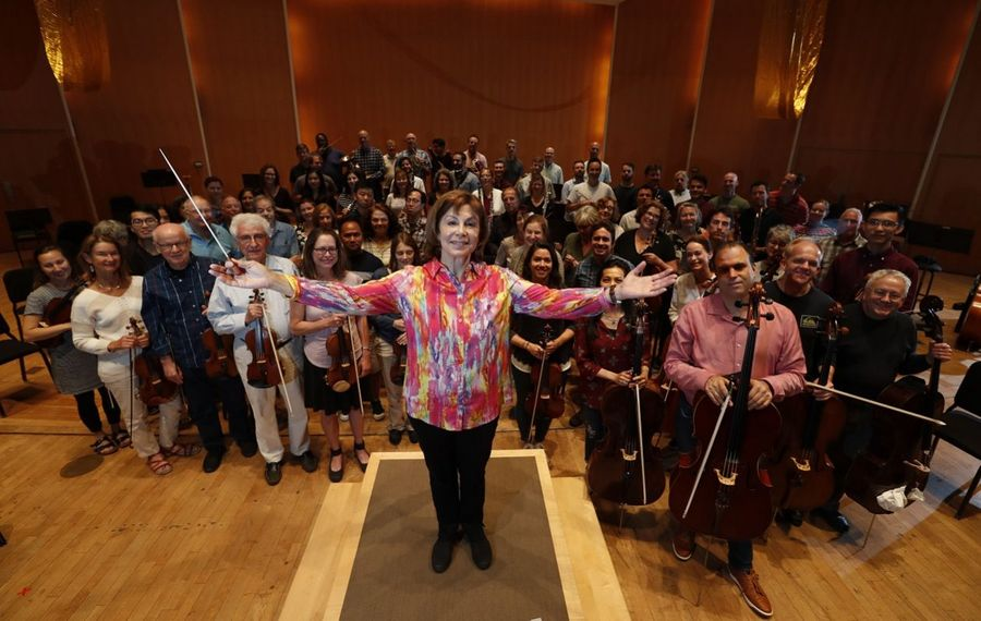 """""""It is truly my honor to lead this remarkable ensemble,"""" JoAnn Falletta said, """"and I am thrilled to be able to do so for several more years."""" (Sharon Cantillon/Buffalo News)"""