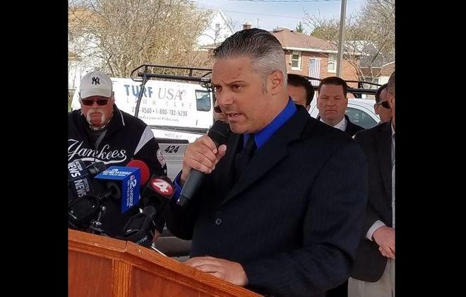 Niagara Falls Councilman William Kennedy II speaks at a news conference at the City Market in Niagara Falls April 23, 2019. (Thomas J. Prohaska/News file photo)