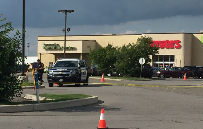 Hamburg police investigate a fatal accident Saturday, Sept. 7, in the parking lot of Savers on McKinley Parkway. (Jay Rey/Buffalo News)