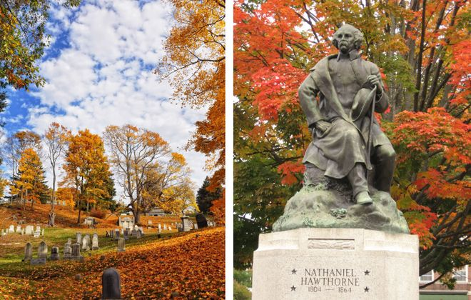 A graveyard and the Nathaniel Hawthorne statue in Salem. (Courtesy Teresa Nevic Stavner & Teresa Zak)