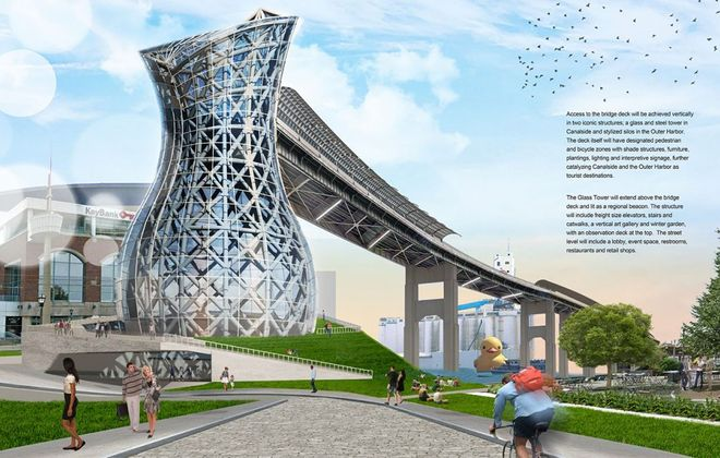 """The """"City of Light"""" entry was the winner of the Skyway corridor competition. Public hearings begin this week with the goal of taking down at least part of the structure, which hinders access to the waterfront and restricts opportunities for development."""