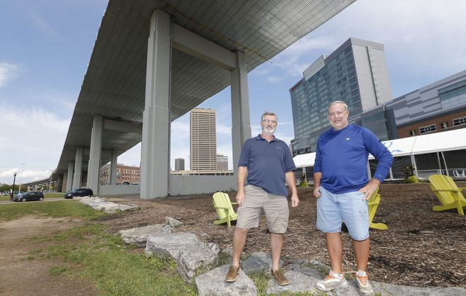 Stu Easter, left, and his brother Larry, both of greater Buffalo: Their mother won a 1955 contest to name the Skyway.  (Robert Kirkham/Buffalo News)