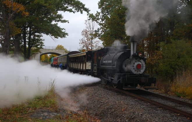 A 1925 Baldwin steam engine on train from Buffalo, Cattaraugus & Jamestown Scenic Railway, pulling an open-air coach, two enclosed coaches and a caboose. (John Hickey/News file photo)
