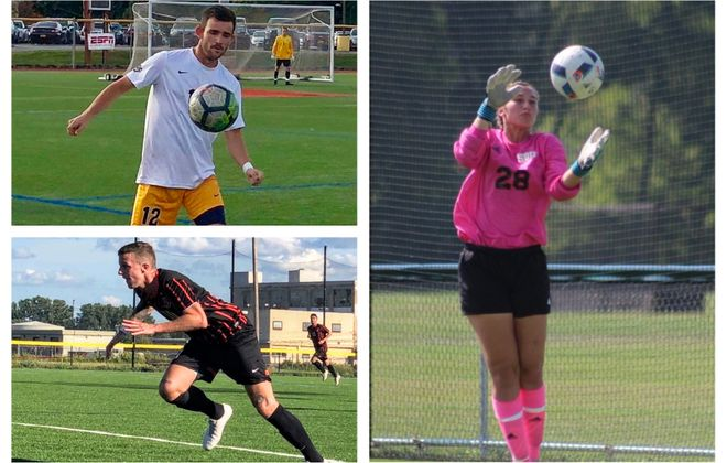 BN Soccer's honor roll, from upper left, clockwise: Troy Brady, Canisius; Lauren Malcolm, St. Bonaventure; Theo Pencic, Buffalo State. Not pictured is Laurie Poeller, who also was recognized. (Malcolm photo via St. Bonaventure)