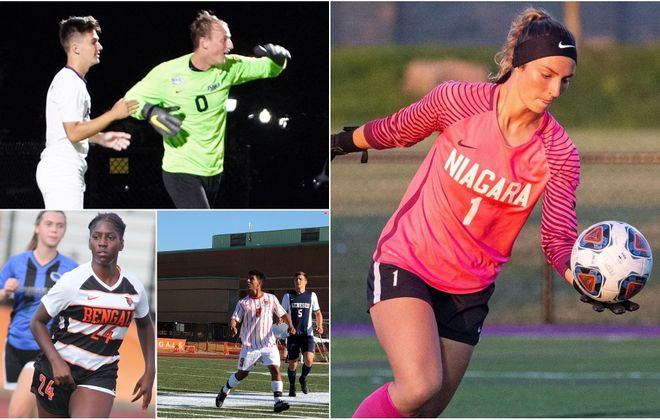 BN Soccer's Week 2 honors, from upper left, clockwise: Nick Burke, Niagara, in green; Sabrina Local, Niagara; Zak Shaibi, Buffalo State, in white; Alexis Hanson, Buffalo State. (Hanson photo via Buffalo State, Locas via Niagara)