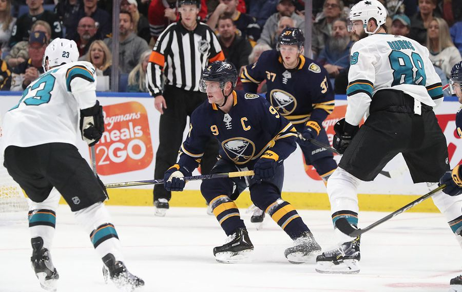 Jack Eichel burned the Sharks for four points Tuesday and has an NHL-high 13 points in five home games this season (James P. McCoy/Buffalo News).