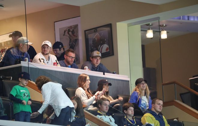 Buffalo Bills QB Josh Allen, wearing the white No. 17 jersey, watches the Sabres-Montreal game Oct. 9 in KeyBank Center (James P. McCoy/News file photo).