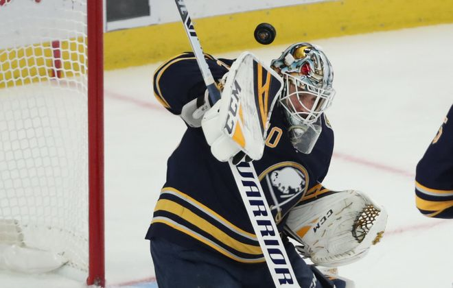 Buffalo Sabres goaltender Carter Hutton (40) makes a save in the first period at Key Bank Center in Buffalo, NY on Wednesday, Oct. 9, 2019.  James P. McCoy/Buffalo News