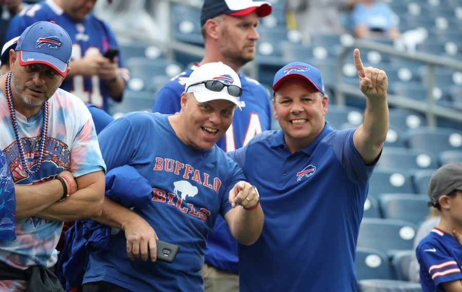 Bills fans cheer on their team during pregame warmups at Nissan Stadium in Nashville on Sunday, Oct. 6, 2019. (James P. McCoy/Buffalo News)