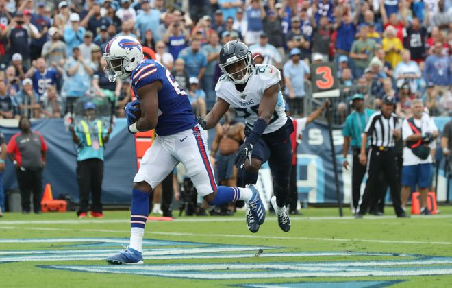 Bills receiver Duke Williams beats Tennessee Titans cornerback Adoree' Jackson for a touchdown in the fourth quarter at Nissan Stadium in Nashville. (James P. McCoy/Buffalo News)