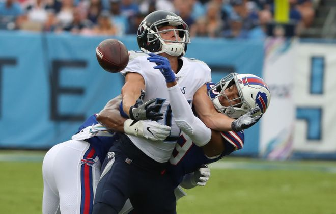 Bills cornerback Kevin Johnson breaks up a pass intended for Titans wide receiver Adam Humphries. (James P. McCoy/Buffalo News)