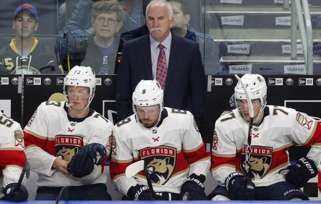 Coach Joel Quenneville and the Florida Panthers will have an earlier start time in Buffalo on Saturday. (Mark Mulville/Buffalo News)
