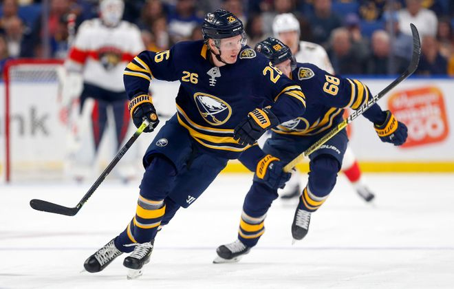 Sabres defenseman Rasmus Dahlin (26) skates in the second period Friday night against Florida. (Mark     Mulville/News file photo)
