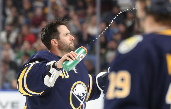 Carter Hutton gets back into the net tonight. (James P. McCoy/News file photo)