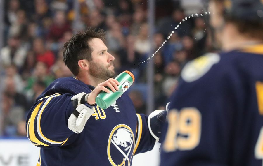 Carter Hutton stopped all 72 shots he faced last week in posting two shutouts. (James P. McCoy/Buffalo News)