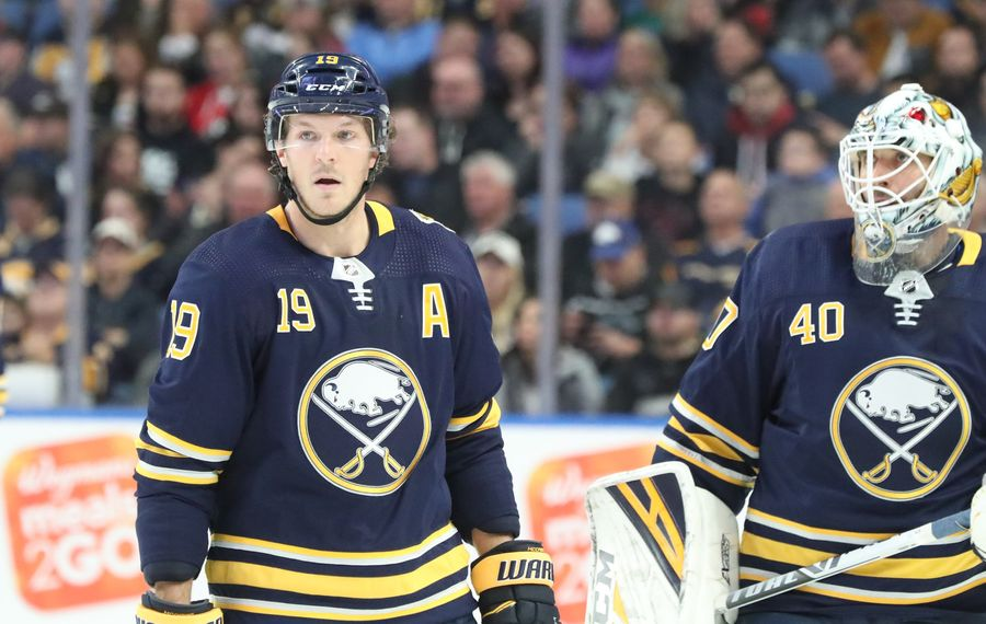 Buffalo Sabres defenseman Jake McCabe (19) skates to the bench in the first period at Key Bank Center in Buffalo, NY on Monday, Oct. 14, 2019.  James P. McCoy/Buffalo News