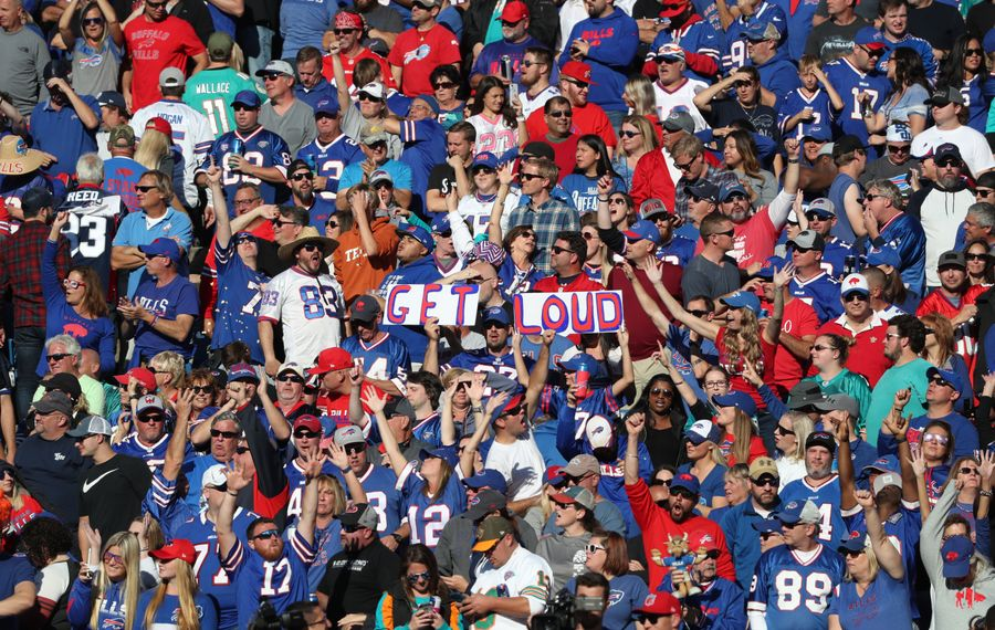 Bills fans cheer on the team in the fourth quarter at New Era Field in Orchard Park on Sunday, Oct. 20, 2019. (James P. McCoy/Buffalo News)