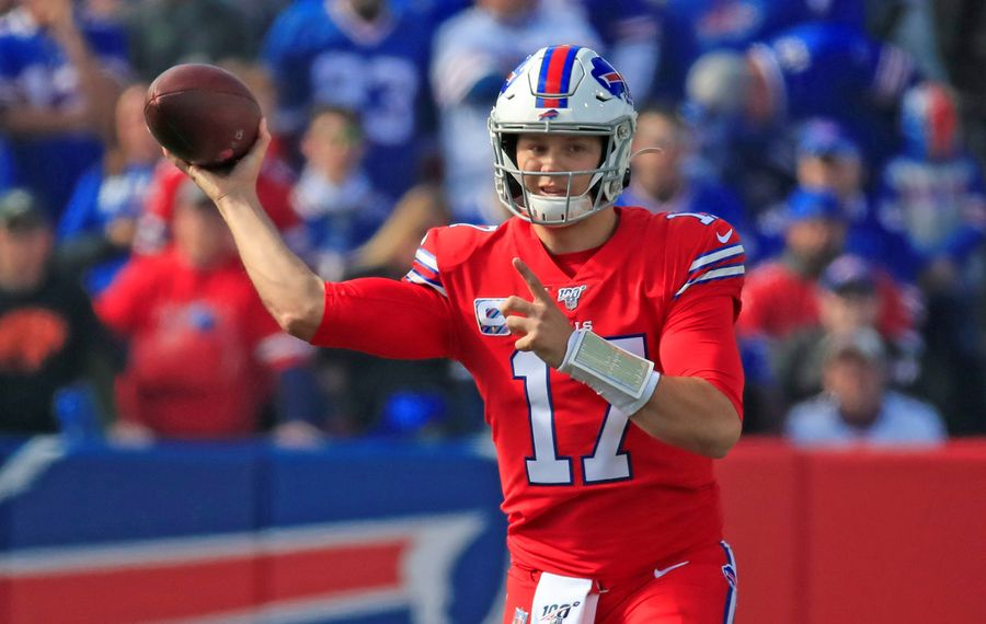 Buffalo Bills quarterback Josh Allen throws against the Miami Dolphins during the first quarter in Week 7. (Harry Scull Jr./Buffalo News)